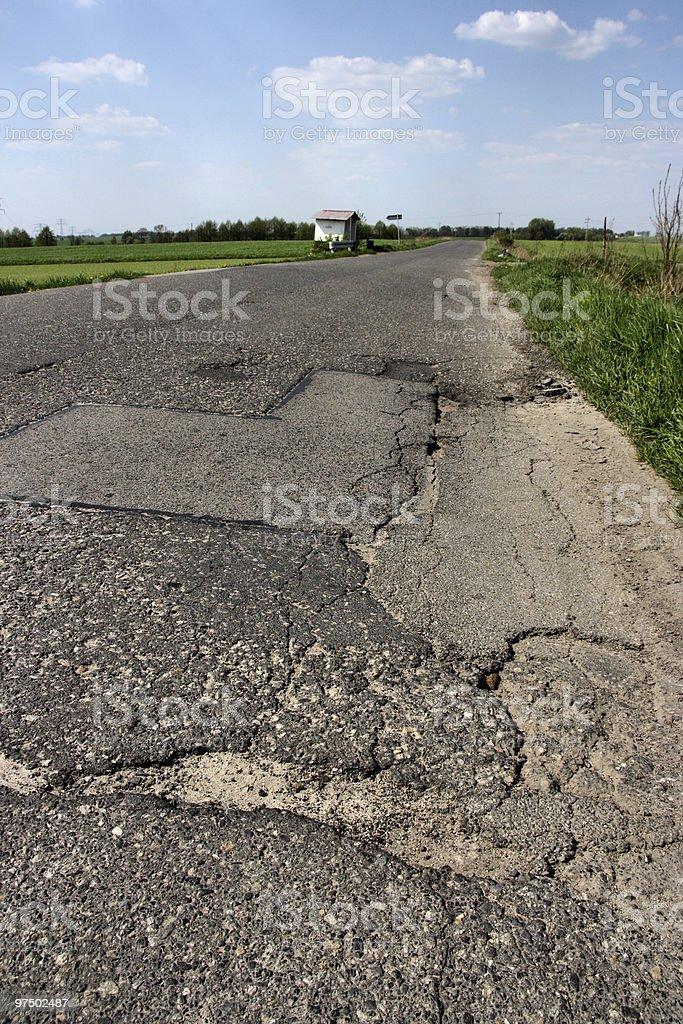 Road cracks royalty-free stock photo