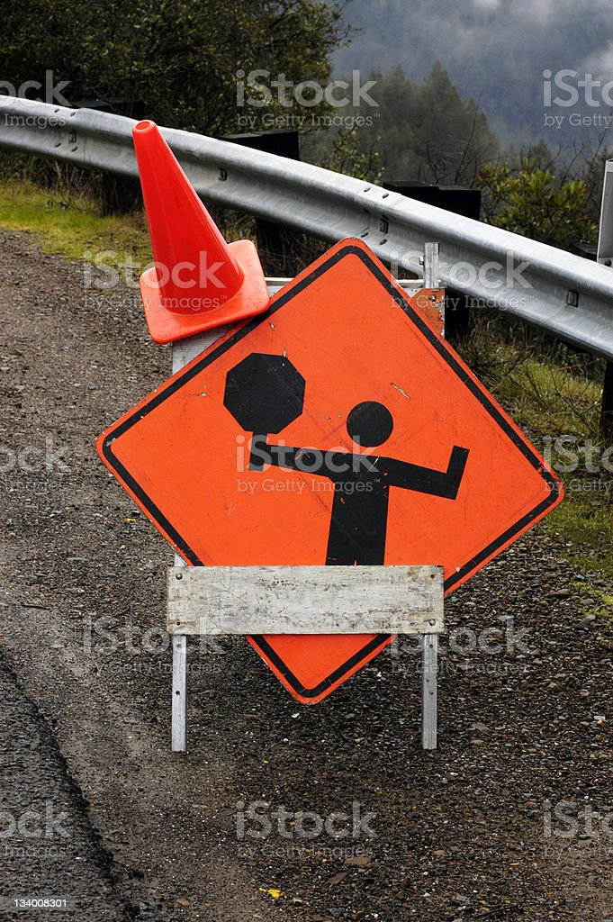 Road crew warning sign royalty-free stock photo