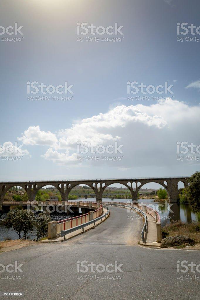 Weg oversteken van een dam royalty free stockfoto