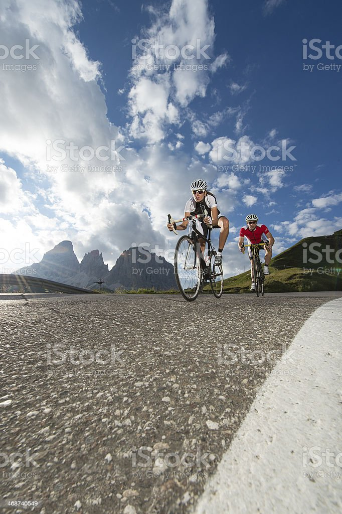 Road cycling in the clouds stock photo