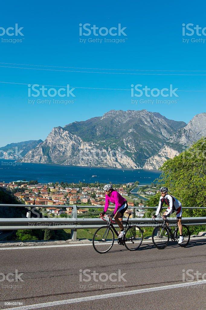 road cycling on garda lake stock photo