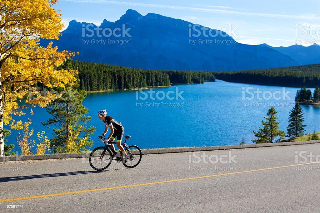 Road Cyclist Girl stock photo