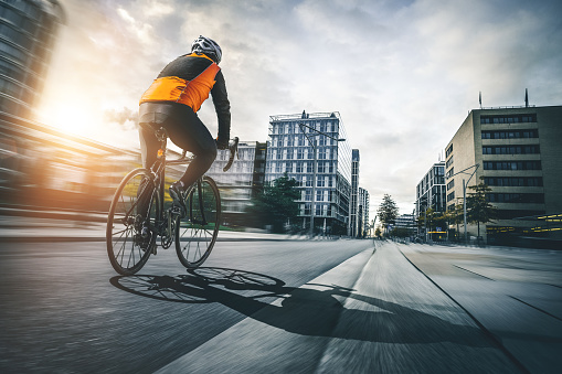 Road cyclist in a city