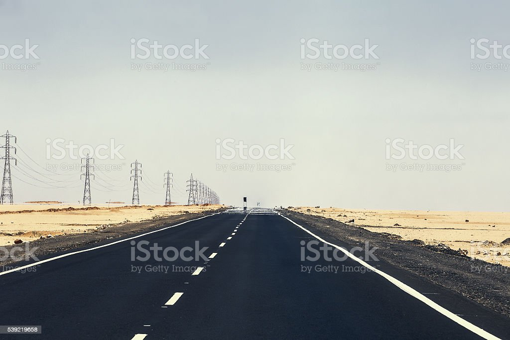 road desert mirage stock photo