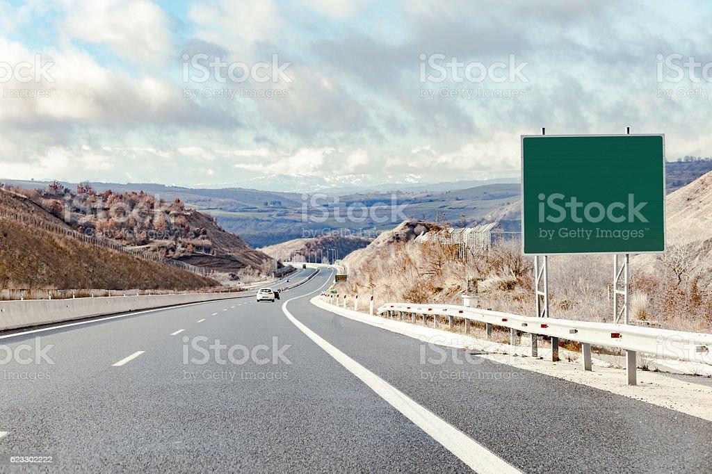 road destination sign on motorway – Foto