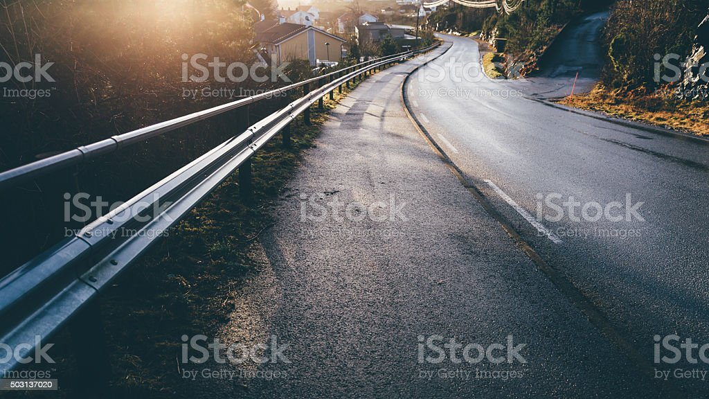 Road during the sunset stock photo