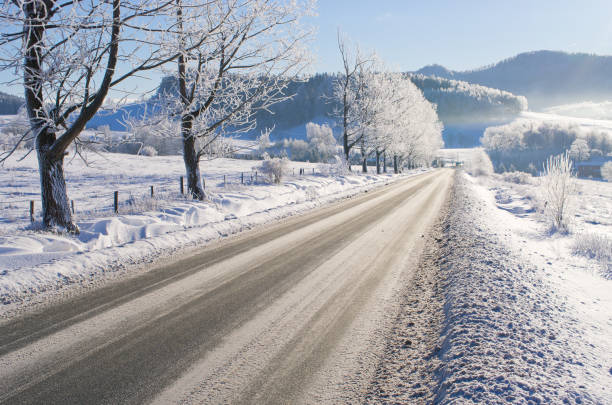 Road during the winter stock photo