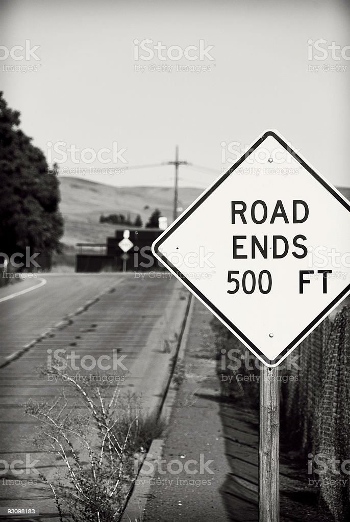 Road Ends Sign stock photo