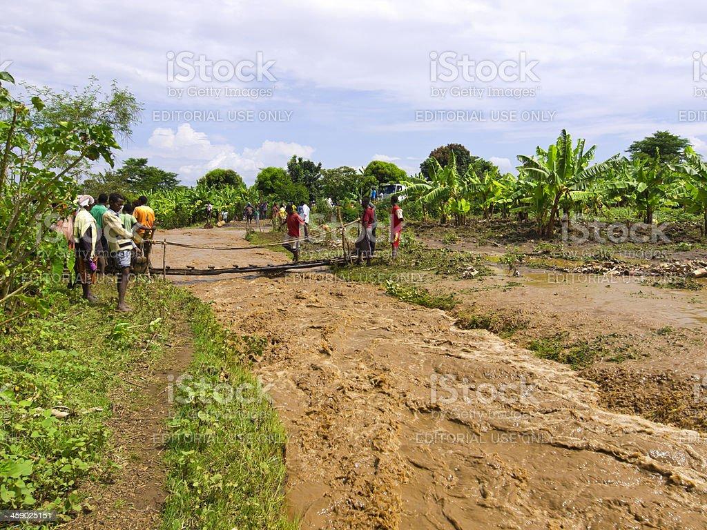 Road flood stock photo