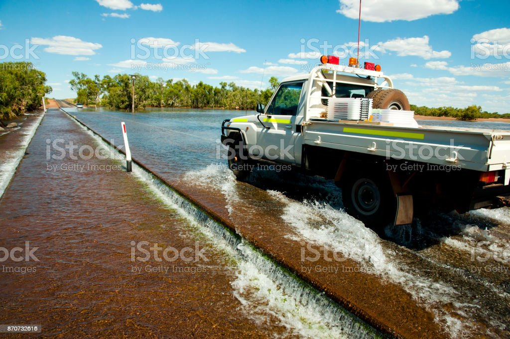 Road Flooding in the Outback stock photo