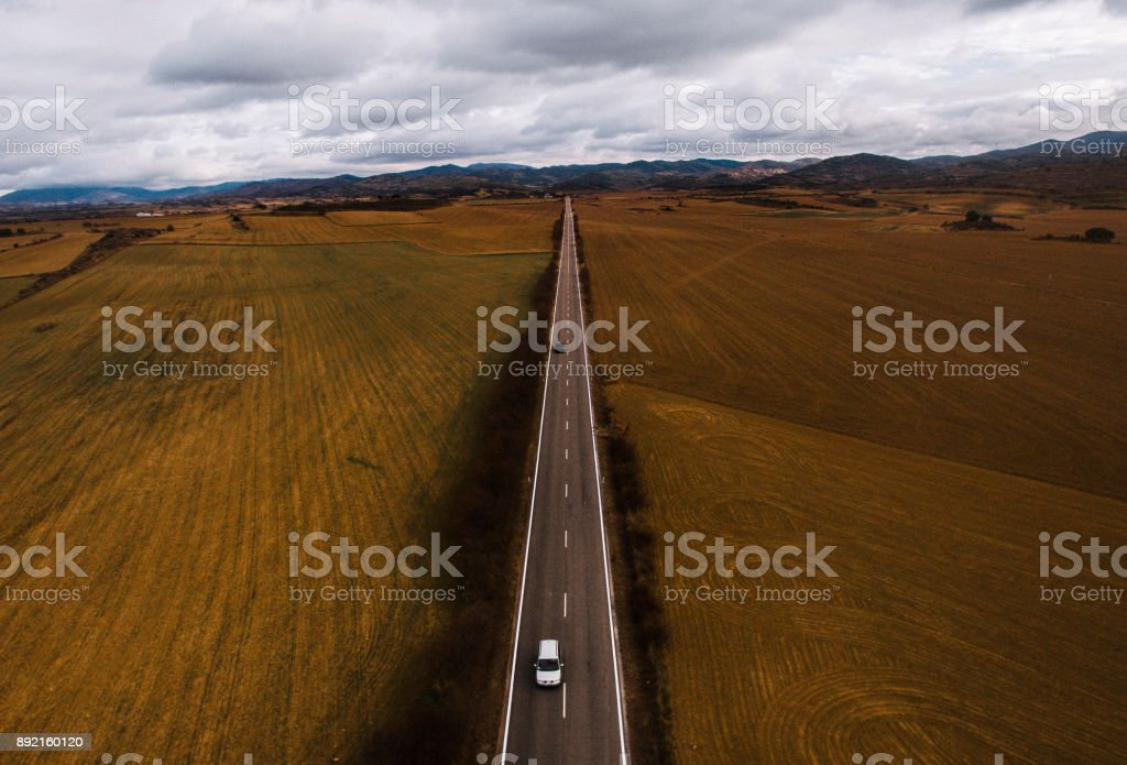Road from above stock photo