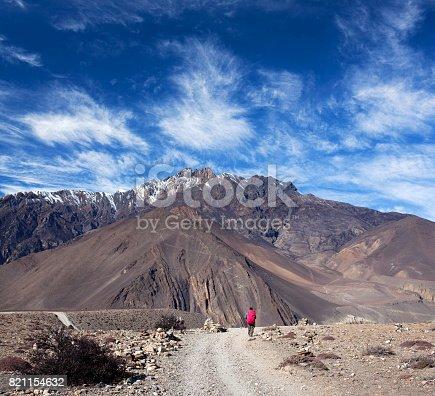 istock Road from Muktinath to Jomsom on Annapurna Circuit trek, Nepal 821154632