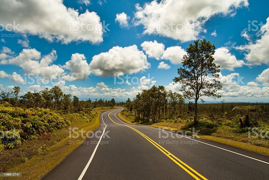 Road from the left lane stock photo