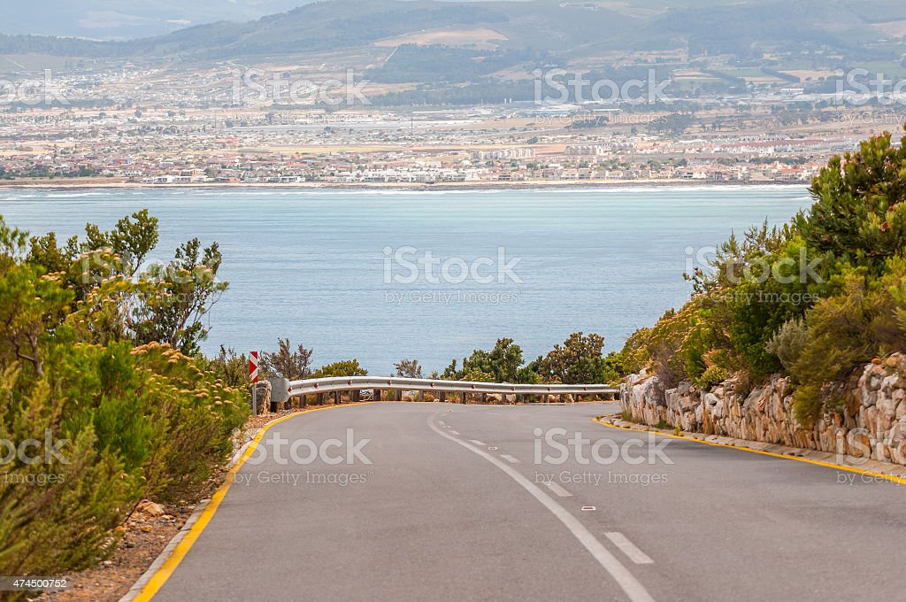 Road from viewpoint at Steenbras Dam pump station stock photo