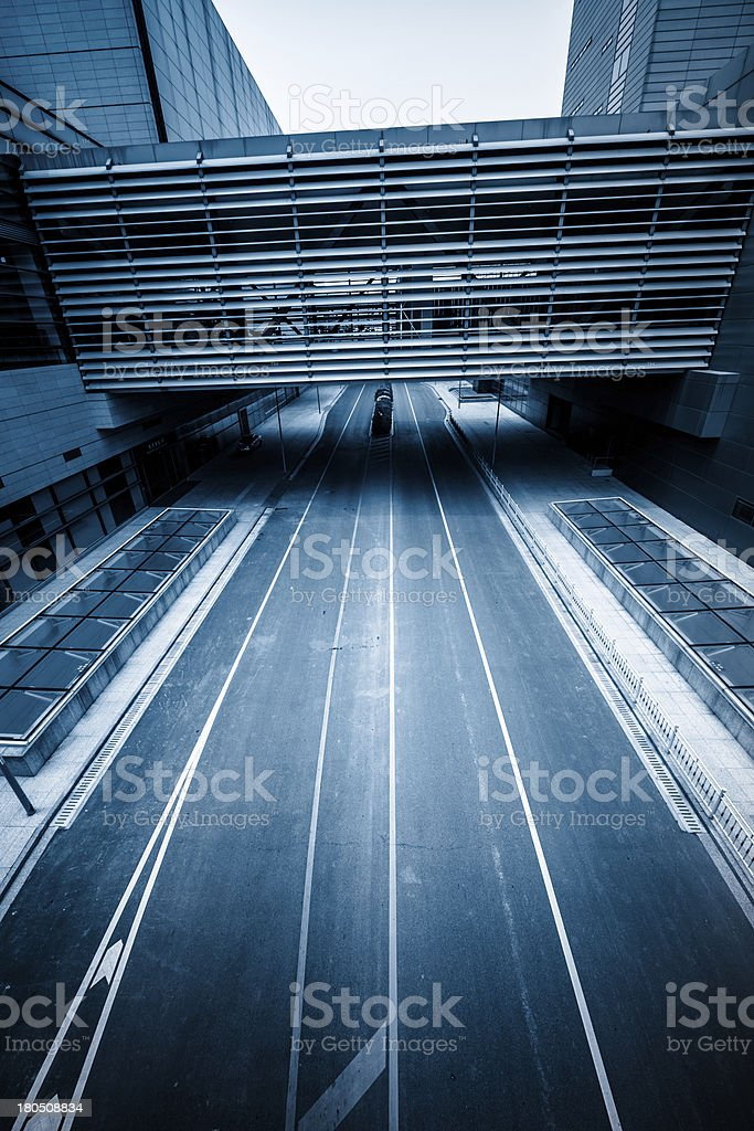 road go through the modern office building royalty-free stock photo
