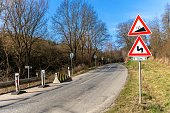 Road grade 12 per cent, road sign in Czech Republic near the village of Rikonin. Dangerous climb. Danger on the road. Traffic signs.