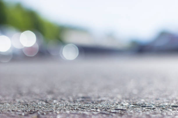 Road ground level. Depth of field bokeh. stock photo