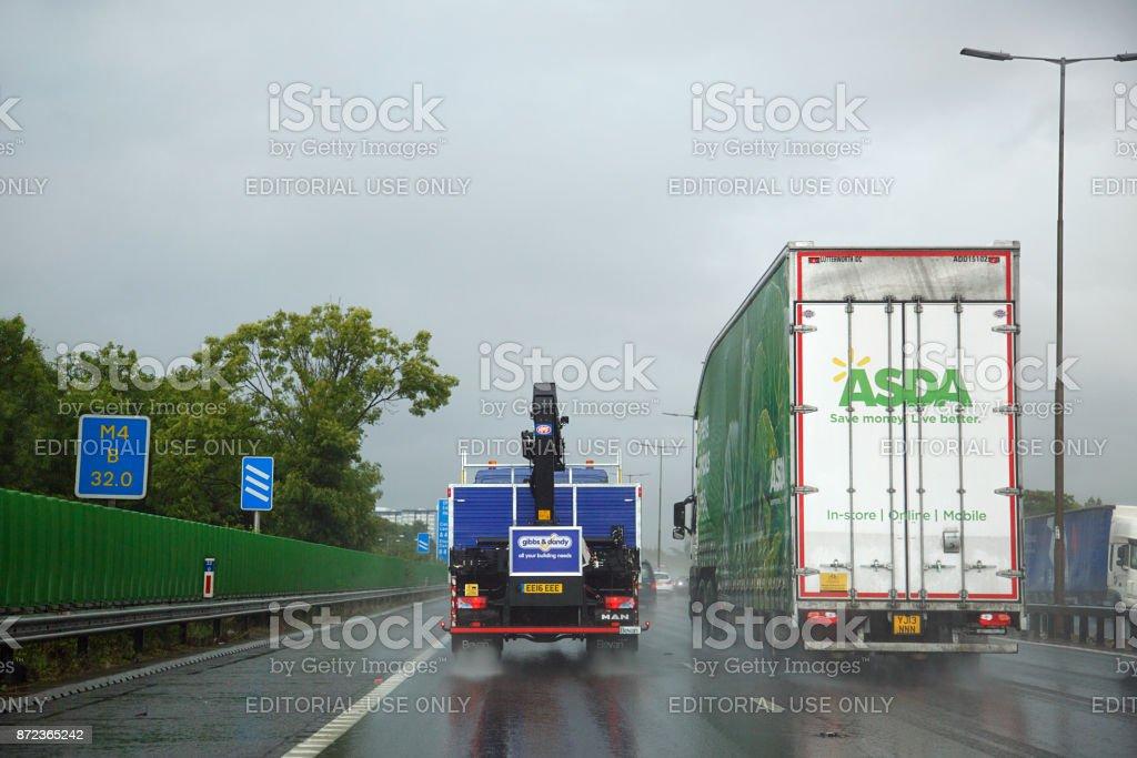 Road haulage on UK roads stock photo