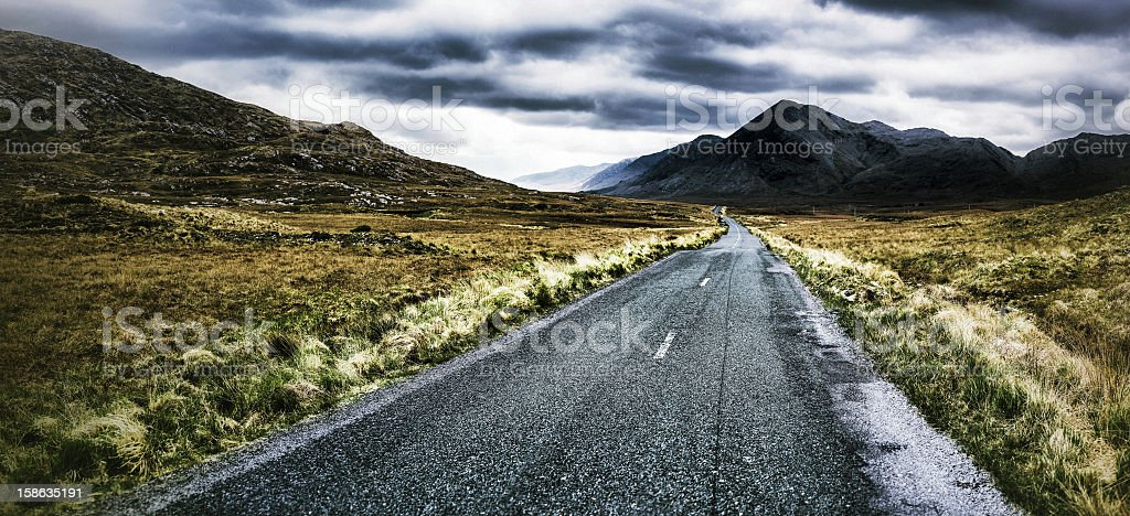 Road heading the Foggy Mountains stock photo