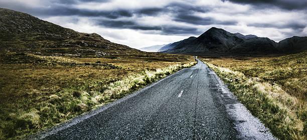 Road heading the Foggy Mountains stock photo