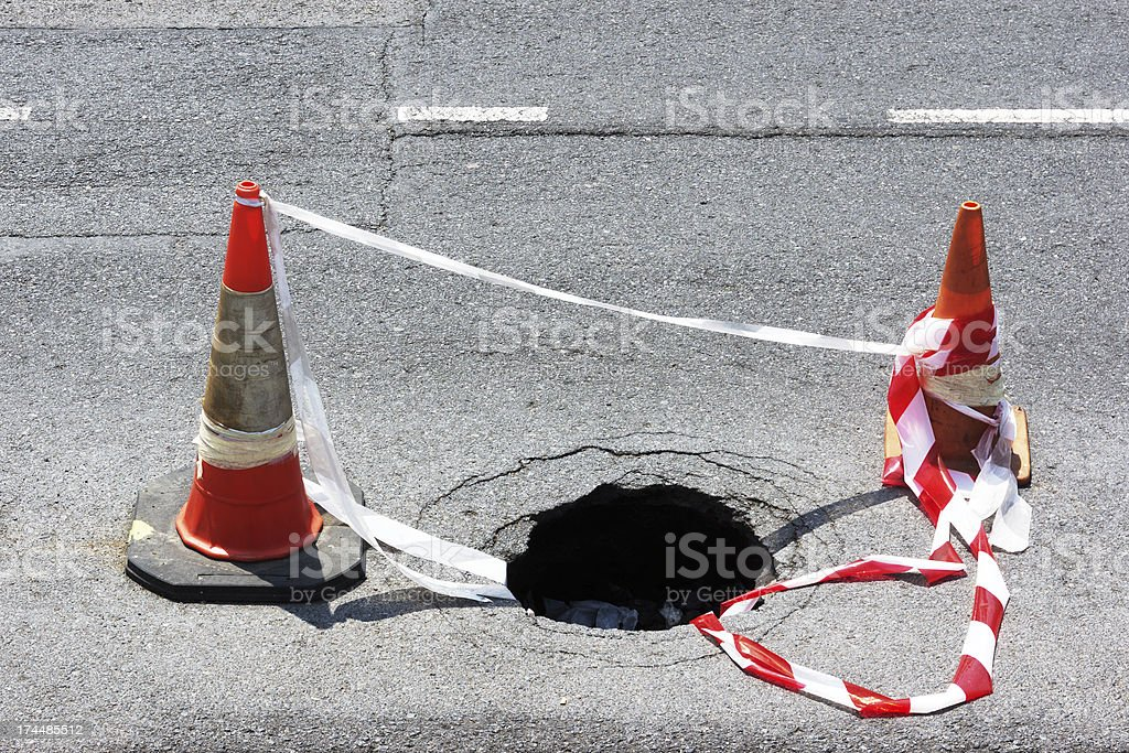 road hole with warning cones stock photo