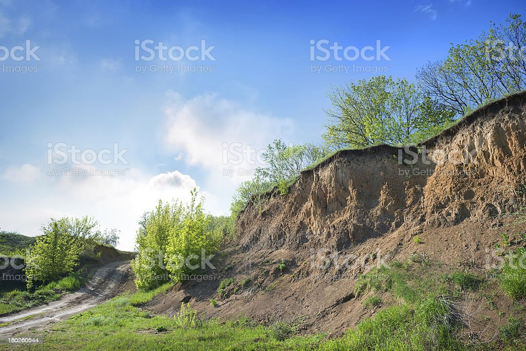 Road in a ravine royalty-free stock photo