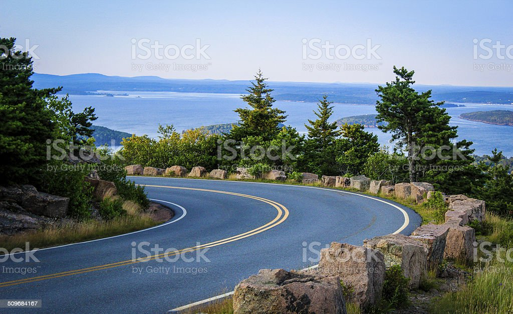 road in acadia national park stock photo