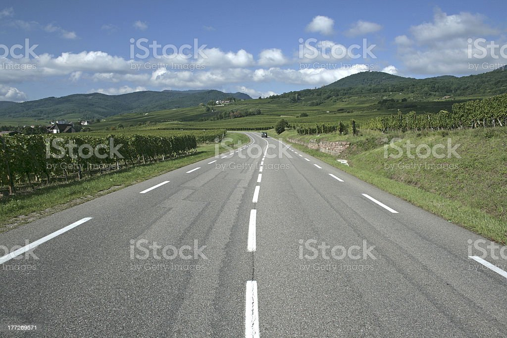 Road in Alsace, route de vine. France. royalty-free stock photo