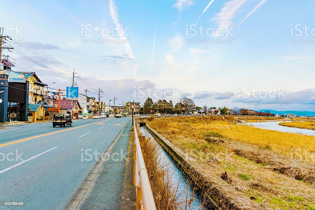 Road in Arashiyama stock photo