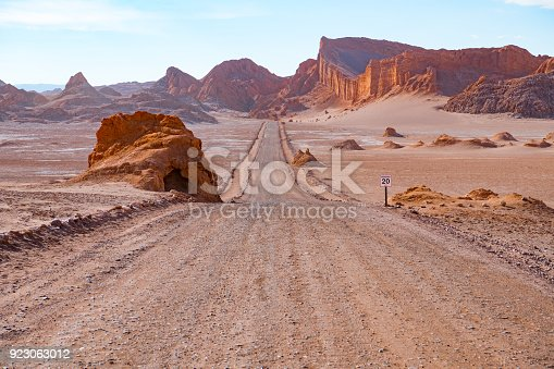 Road in Atacama desert - Moon valley mountains