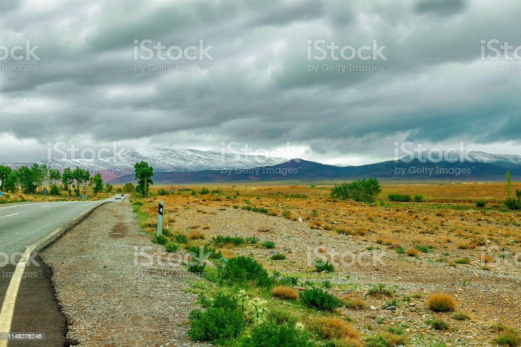 Road in Atlas Mountains in Morocco. Journey through Morocco. road...