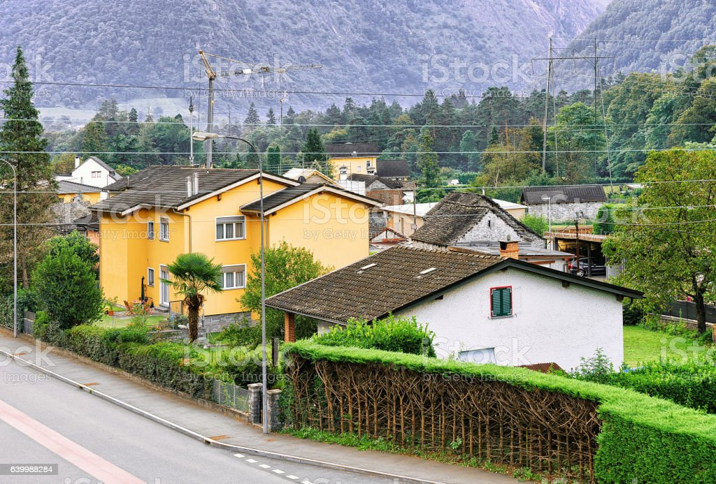 Road in Aurigeno in Ticino of Switzerland stock photo