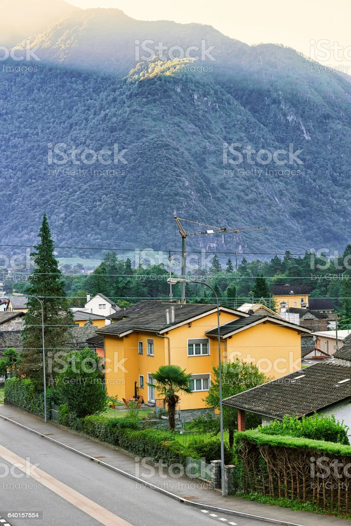 Road in Aurigeno in Ticino Switzerland stock photo