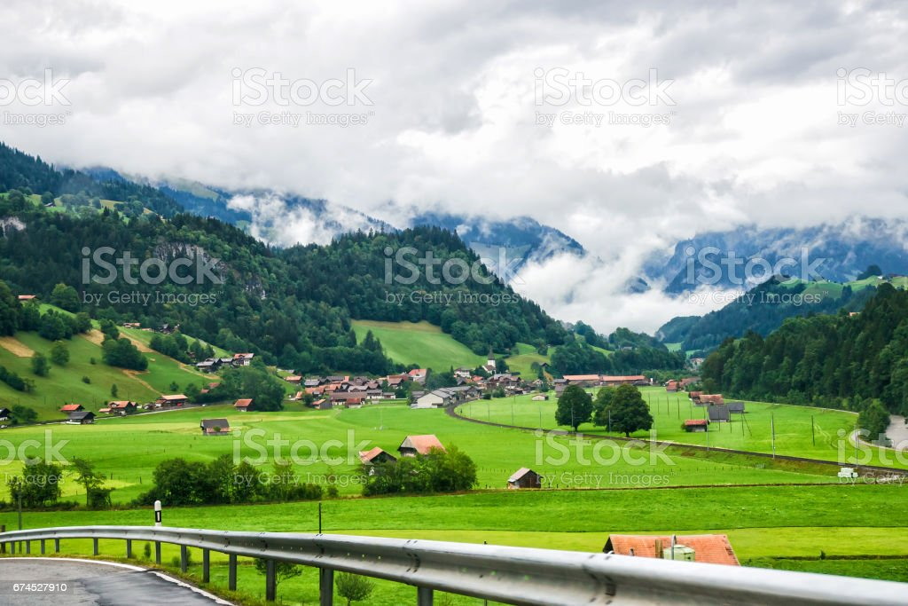 Road in Boltigen at Jaun Pass in Fribourg of Switzerland stock photo