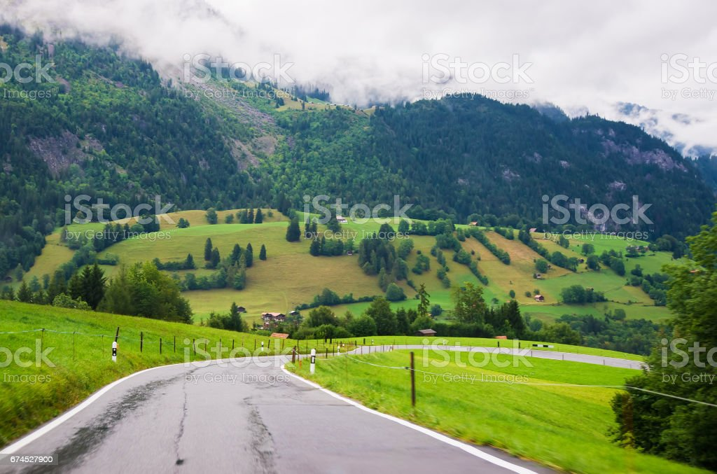 Road in Boltigen at Jaun Pass in Fribourg Switzerland stock photo