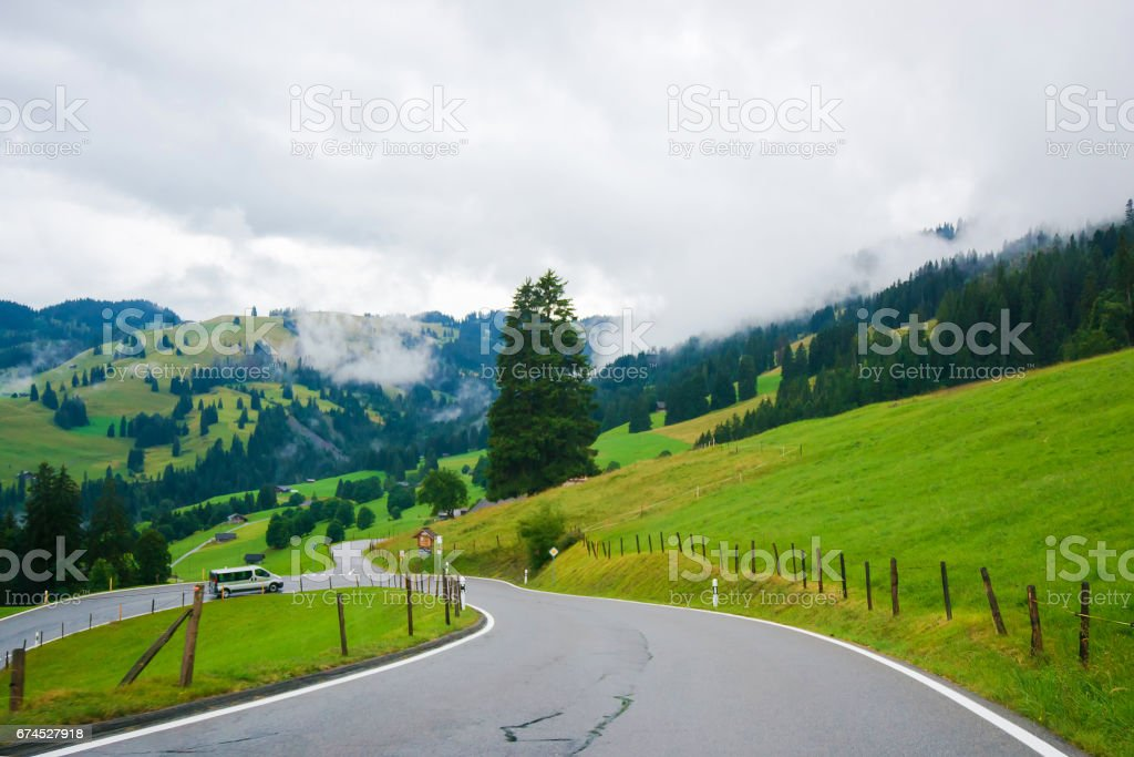 Road in Boltigen at Jaun Pass of Fribourg in Switzerland stock photo