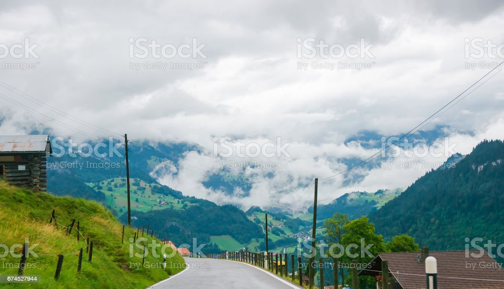 Road in Boltigen at Jaun Pass of Fribourg of Switzerland stock photo