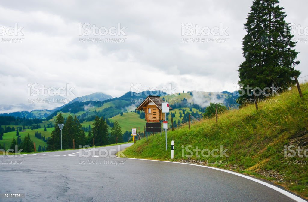 Road in Boltigen at Jaun Pass of Fribourg Switzerland stock photo