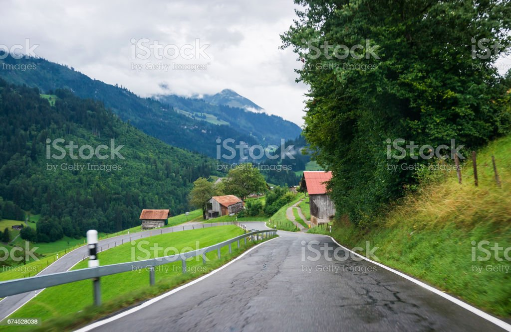 Road in Boltigen in Jaun Pass in Fribourg of Switzerland stock photo