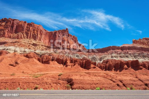 Frony view at highway in Capitol Reeaf National Park, Utah, USA.Highway in Hanksville, Utah, USA.