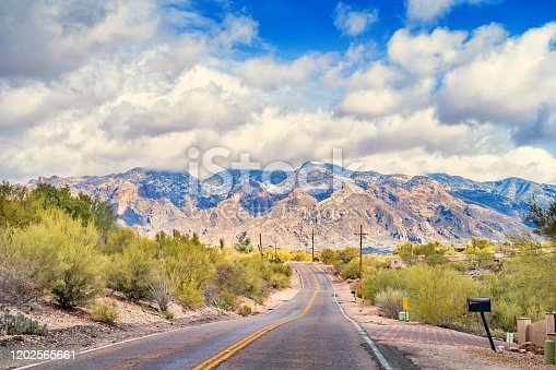 Stock photograph of a road at the foothills of Santa Catalina Mountains, Tucson, USA