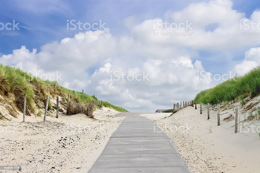 Road in dunes to the beach. Netherlands stock photo