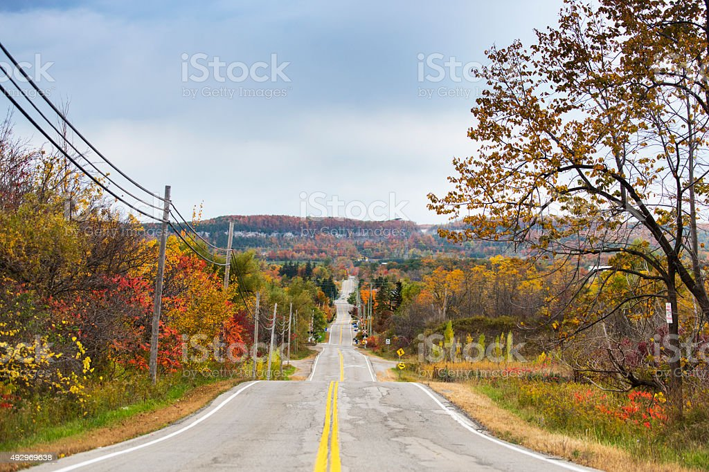 road in fall stock photo