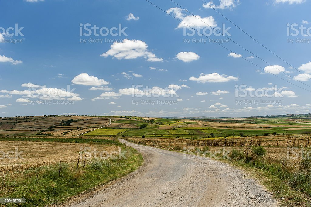 Road in field stock photo