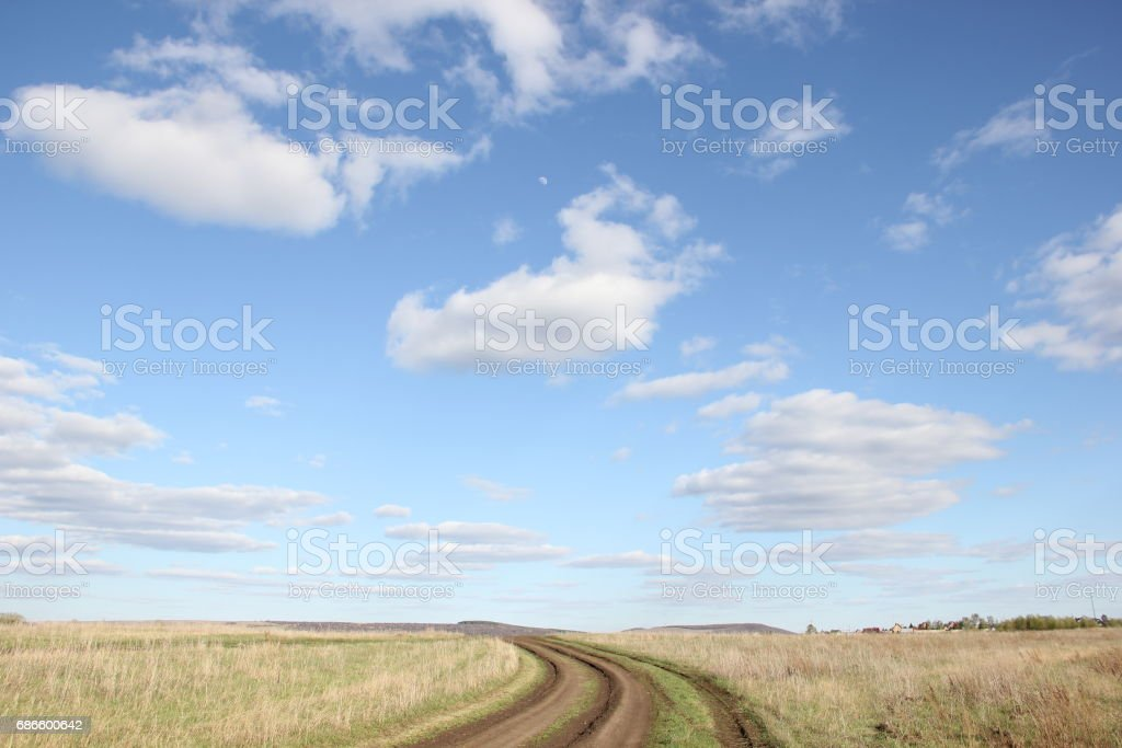 road in field royalty-free stock photo