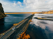 Road in Iceland by drone