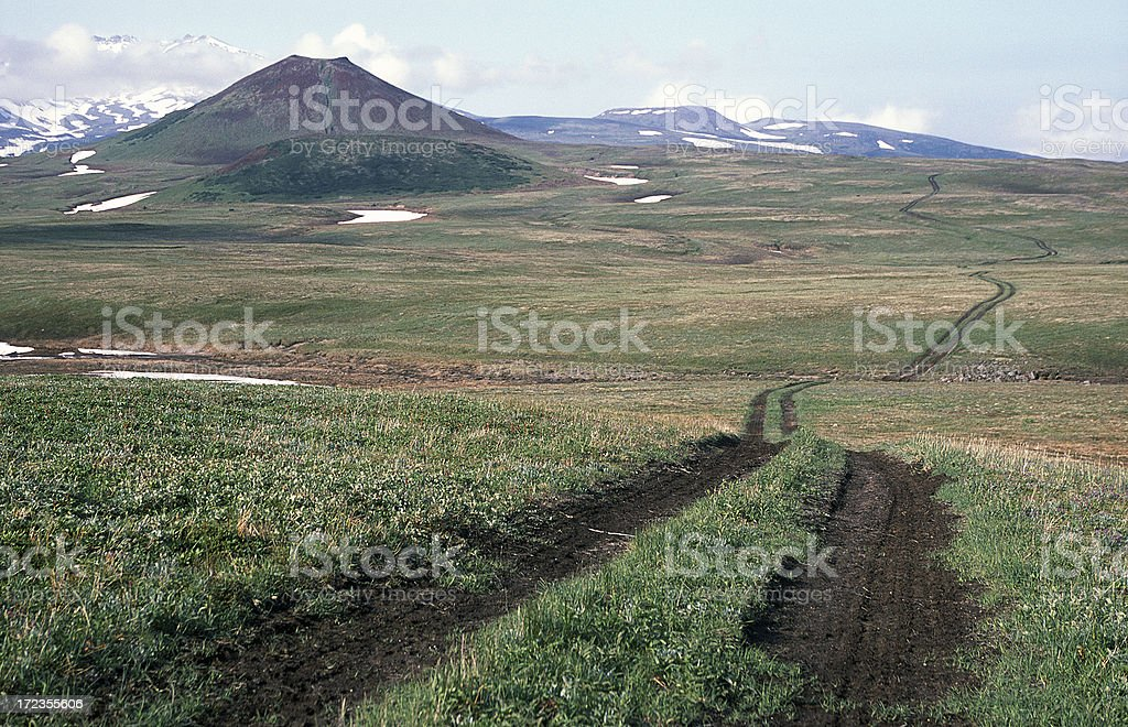 Road in Kamchatka royalty-free stock photo