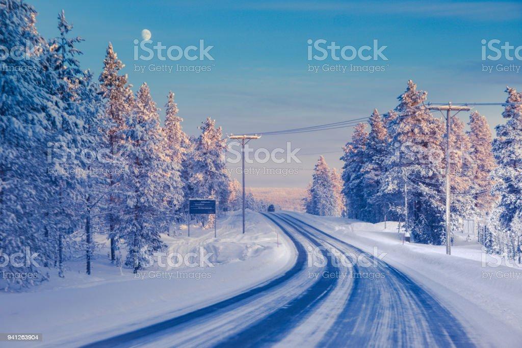 Road in Lapland stock photo