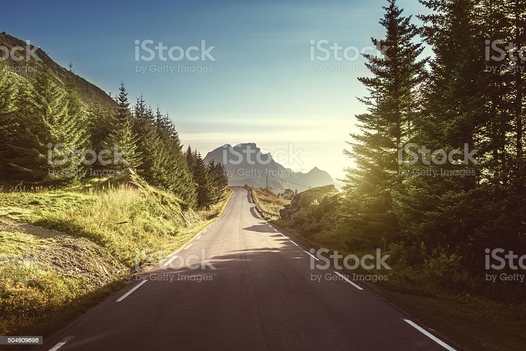 road in mountain, Lofoten islands, Norway stock photo
