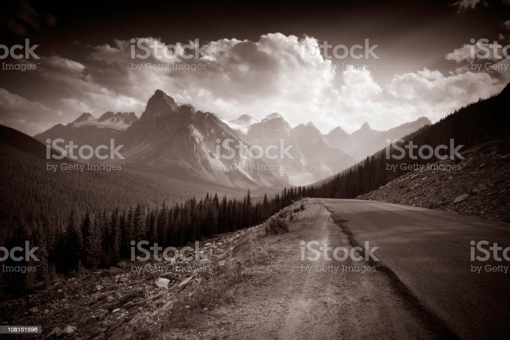 Road in Mountains, Sepia Toned royalty-free stock photo